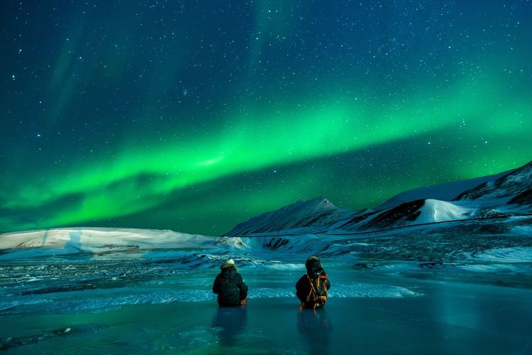 Astronomy Aurora Polaris Beauty In Nature Cold Temperature Environment Frozen Group Of People Ice Land Landscape Mountain Nature Night People Scenics - Nature Sky Snow Snowcapped Mountain Space Star - Space Unrecognizable Person Winter First Eyeem Photo