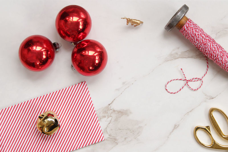 Wrappings Celebration Christmas Copy Space December Desk Gold Holidays Red Reindeer Scissors Stripes Twine Backgrounds Decorations Desk From Above Festive Jingle Bells Marble Mock Up Ornaments Styled White Wrapping Presents