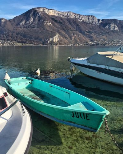 Lake Annecy, France 🇫🇷 Transportation Mountain Moored Nautical Vessel Nature Mode Of Transport Water Boat Day Outdoors Beauty In Nature No People Lake Tranquility Scenics Blue Mountain Range Travel Destinations Landscape Sky Beauty In Nature Tranquil Scene Freshness Tranquility France