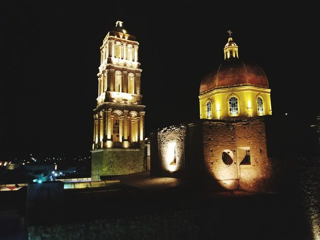 cathedral Galaxy Photography Mexico Travel History Building Exterior Lights In The City Dark And Light Night Illuminated No People Architecture Building Exterior Outdoors Black Background