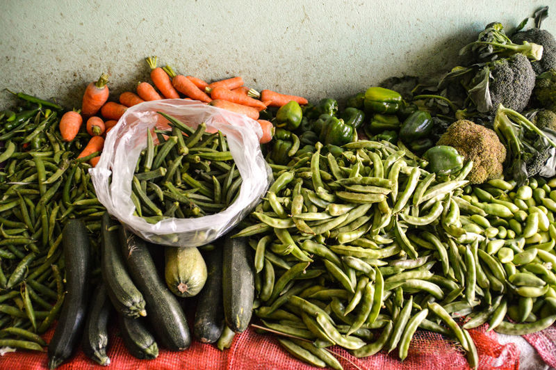High angle view of vegetables at market
