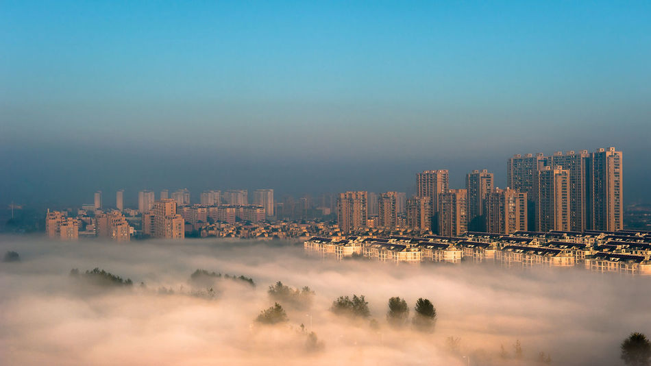 Cityscape Skyscraper Urban Skyline Outdoors City Downtown District Sky Architecture No People Jiashan Zhejiang Province Landscape Morning Fog Nikonphotography