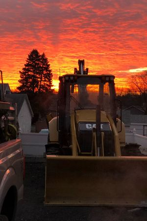 Beautiful sunrise at a construction yard IPhone X No Fliter  Sunset Orange Color Tree No People Car Sky Transportation Outdoors Nature Day