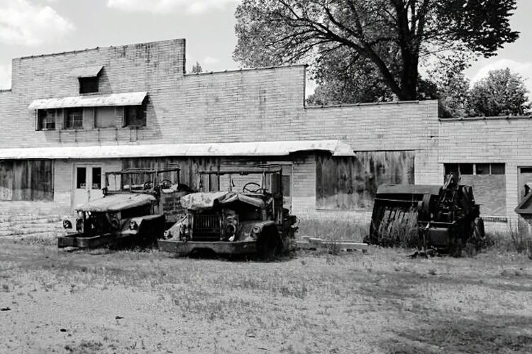 Taking Photos Overgrown Old Cars Old Ruin Rundown Derelict & Abandoned Blackandwhite Black And White Black & White Old Old Building  Left Behind Derelict Abandoned & Derelict Tractor Neglected Forgotten Abandoned Old Tractor Abused