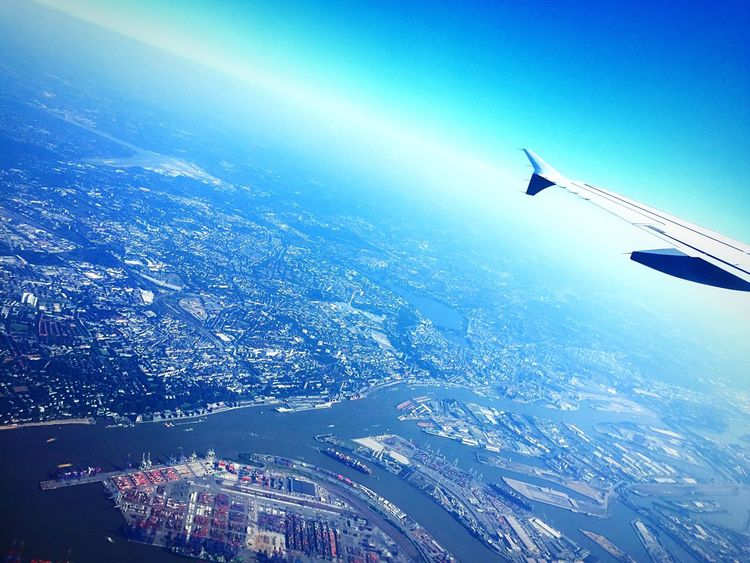 Up, up and away! Leaving Hamburg Home Sweet Home Fly Aerial View Airplane Flying Traveling First Eyeem Photo Today's Hot Look EyeEm Best Shots IPhoneography IPhone Enjoying Life Lifestyle Travel Panorama From An Airplane Window Aircraft Wing City Hamburg Harbour View From Above Rom Roma Rome Italy❤️