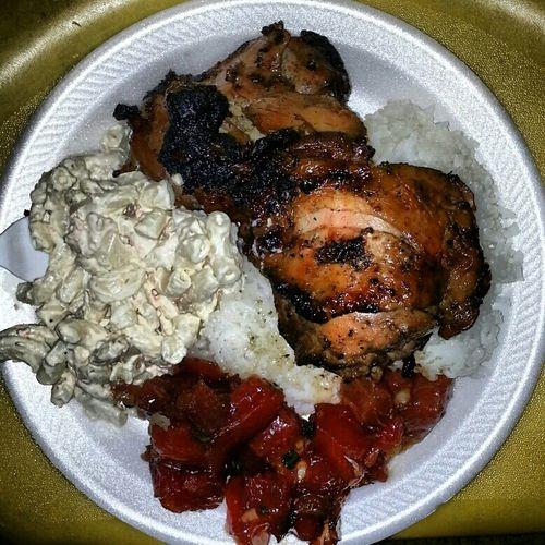 My Dinnah. Bbq Chicken Wit Shoyu Oyster Poke N Macaroni Salad From Zippy's