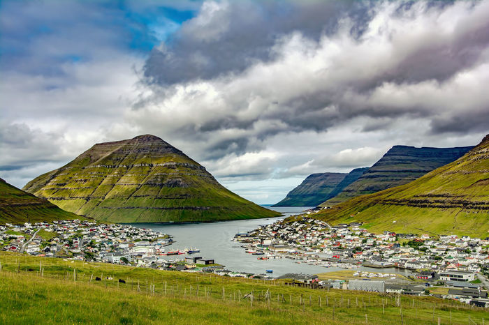 Klaksvik, the Faroe Islands 2nd largest city, and largest fishing port Beauty In Nature Cloud - Sky Day Farao Island Grass Green Color Klaksvik Lake Landscape Mountain Nature No People Outdoors Scenics Sky Tranquil Scene Tranquility