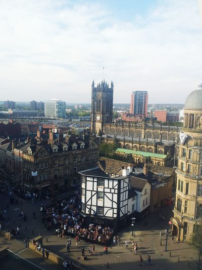 Manchester Exchange Square Cathedral Sinclairs Pub Birds Eye View Manchester Eye Corn Exchange Clouds And Sky