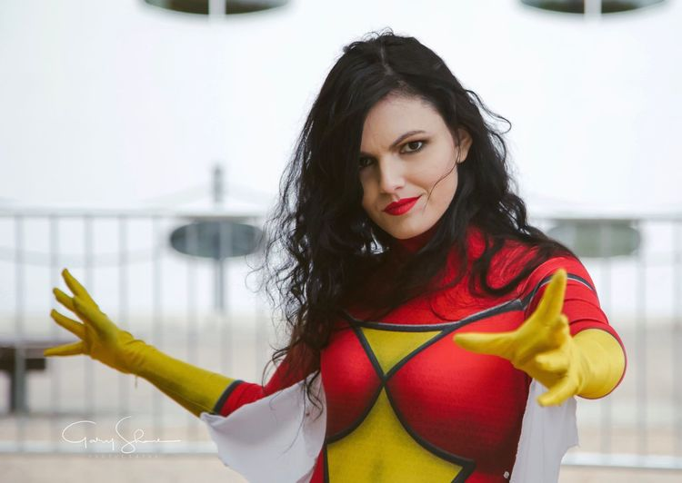 Spider Woman Game London Cosplay Cosplayer Spiderwoman Comic Con Smile Red Yellow ShotByGSP Photoshoot Portrait Superhero Marvel Comics Brunette Jessica Marvelcosplay Looking At Camera One Person Portrait Real People Lifestyles Young Women Young Adult Women Long Hair Beauty Waist Up Beautiful Woman