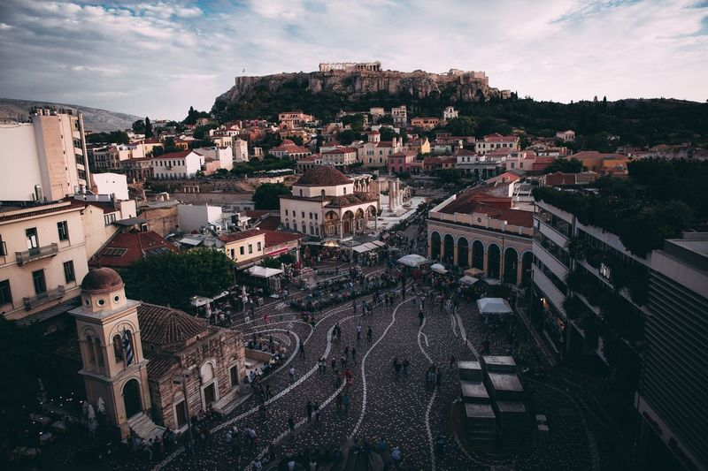 Athenian central Town Square Acropolis, Athens Acropolis Athens Architecture Building Exterior Built Structure City Sky Cloud - Sky Tree Residential District Building High Angle View Day Outdoors Town Cityscape No People TOWNSCAPE