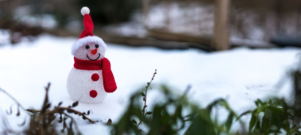 Close-Up Of Snowman On Field