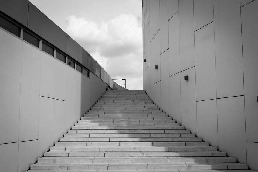 stairs to heaven The Architect - 2016 EyeEm Awards Architecture Architectural Feature Architecture_bw Black And White Stairs Stairway Urban Geometry Urban Photography Urban Architecture TheWeekOnEyeEM Fresh On Eyeem  Built Structure Buildings & Sky Urban Exploration From My Point Of View Eye4photography  EyeEm Gallery Street Urban Perspectives Fine Art Photography Monochrome Photography The City Light The Architect - 2017 EyeEm Awards
