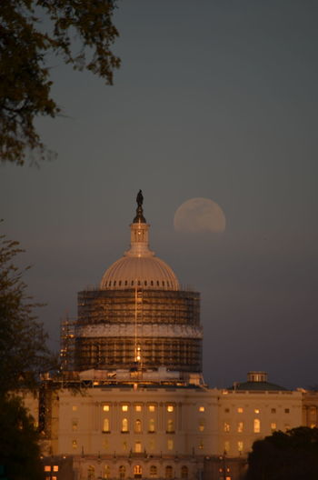 Architecture Building Exterior Built Structure Dome Dusk Famous Place Full Moon History Sky Tourism Travel Travel Destinations US Capitol Building Washington DC