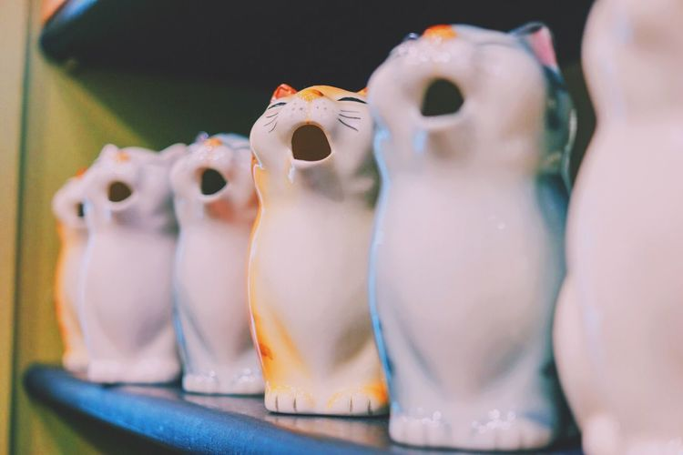 Cat Cats Close-up Indoors  Large Group Of Objects Meow Porcelain  Still Life Toy Toys