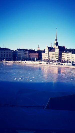 Gamla Stan Sweden Stockholm Built Structure Lake Frozen City Tourism