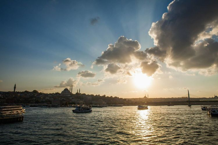 Atmosphere Atmospheric Mood Cloud Cloud - Sky Cloudy Distant Dramatic Sky Dusk Istanbul Light Majestic Nautical Vessel No People Orange Color Outdoors Overcast Sea Sky Sunset Tranquil Scene Water Waterfront