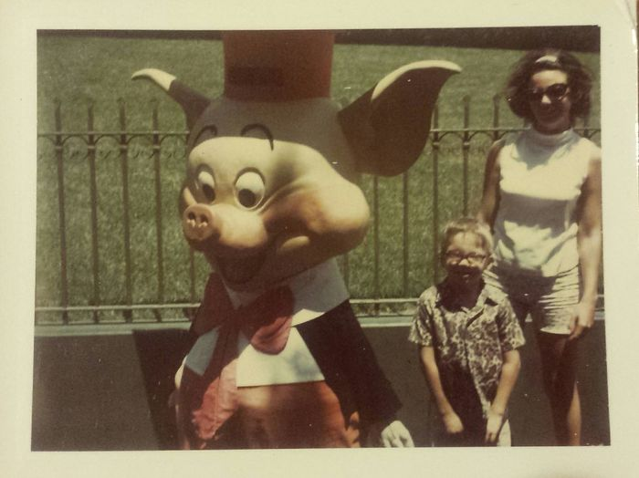 TBT  I got into my mama in law's picture stash while I was staying with her earlier this week. Here's my mama in law and my husband with one of the 3 Little Pigs at The Happy Place in the 60's. I make up stories about pictures and since the Pig is facing away from them, I imagine there was a long line and my mother in law decided to just go stand near the Pig on the other side while he was taking pictures with someone else. No idea if that's true, but it amuses me to think somewhere out there, there's another family with my husband lurking on the other side of the Pig in their picture. Vintage Disneyland