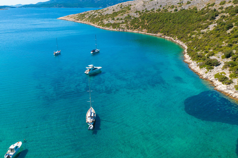 Aerial view of a bay with the boats on the cres island, adriatic sea, croatia