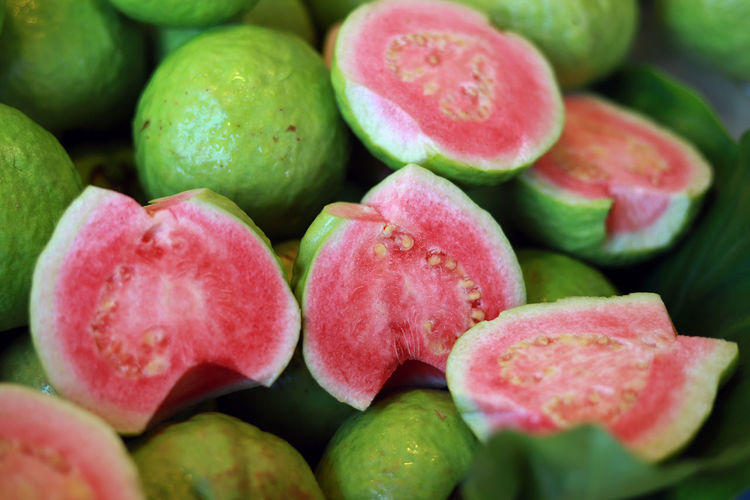 Full frame shot of guavas