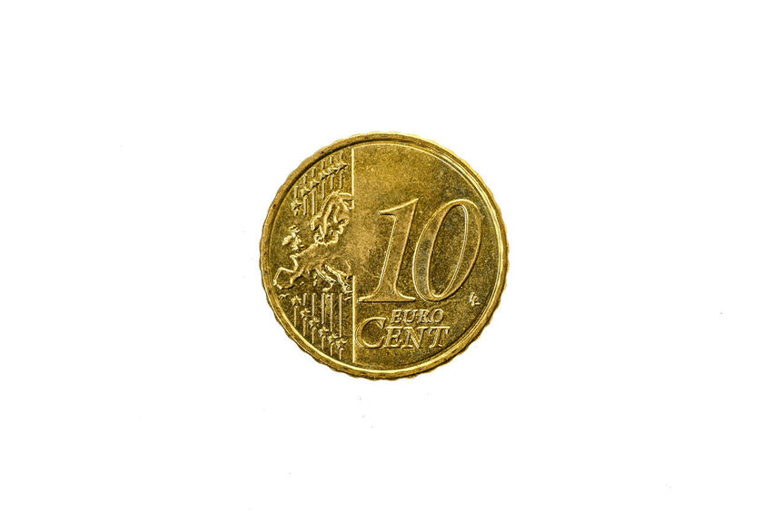 Old used and worn out 10 cents euro coin. Coin of European currency for 0,1 euro isolated on white. High resolution picture. Currency Economy Cash Cent Cent Coins Coins Currency Euro Euro Coin Euro Coins Europe European Currency European Money Finance Gold Gold Colored Metallic Monetary Money Old Studio Shot Symbol Used White Background €