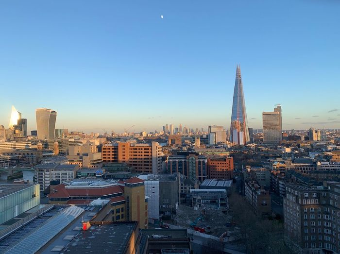 View from top of Blavatnik Building ,Tate Modern , London, England. January 17th 2019 London Tate Modern Gallery View City View  Moon Over The City City Skyline Evening Sky Blavatnik Building Architecture Cityscape Skyscraper Tall - High Outdoors City Clear Sky Building Building Exterior Sky Modern Spire  Shard London