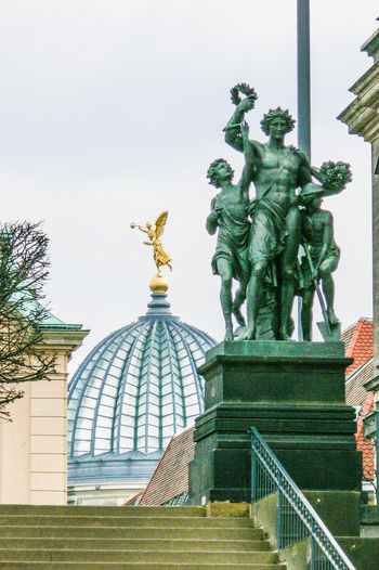Steps to Akademie and skuptures Glass Dome Akademie Architecture Built Structure Clear Sky Gold Colored Human Representation Outdoors Sculpture Statue Art And Craft Male Likeness Green Color Travel Destinations