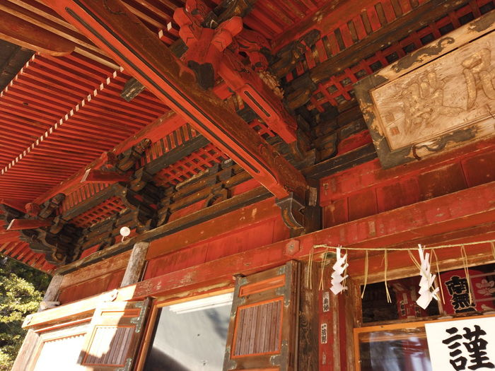Japan Shadow Shrine Temple Japanese Culture Travel Built Structure Low Angle View Architecture Religion Belief No People Place Of Worship Building Exterior Building Ceiling Spirituality Travel Destinations Roof Red Craft Day Art And Craft Architectural Column Ornate Roof Beam