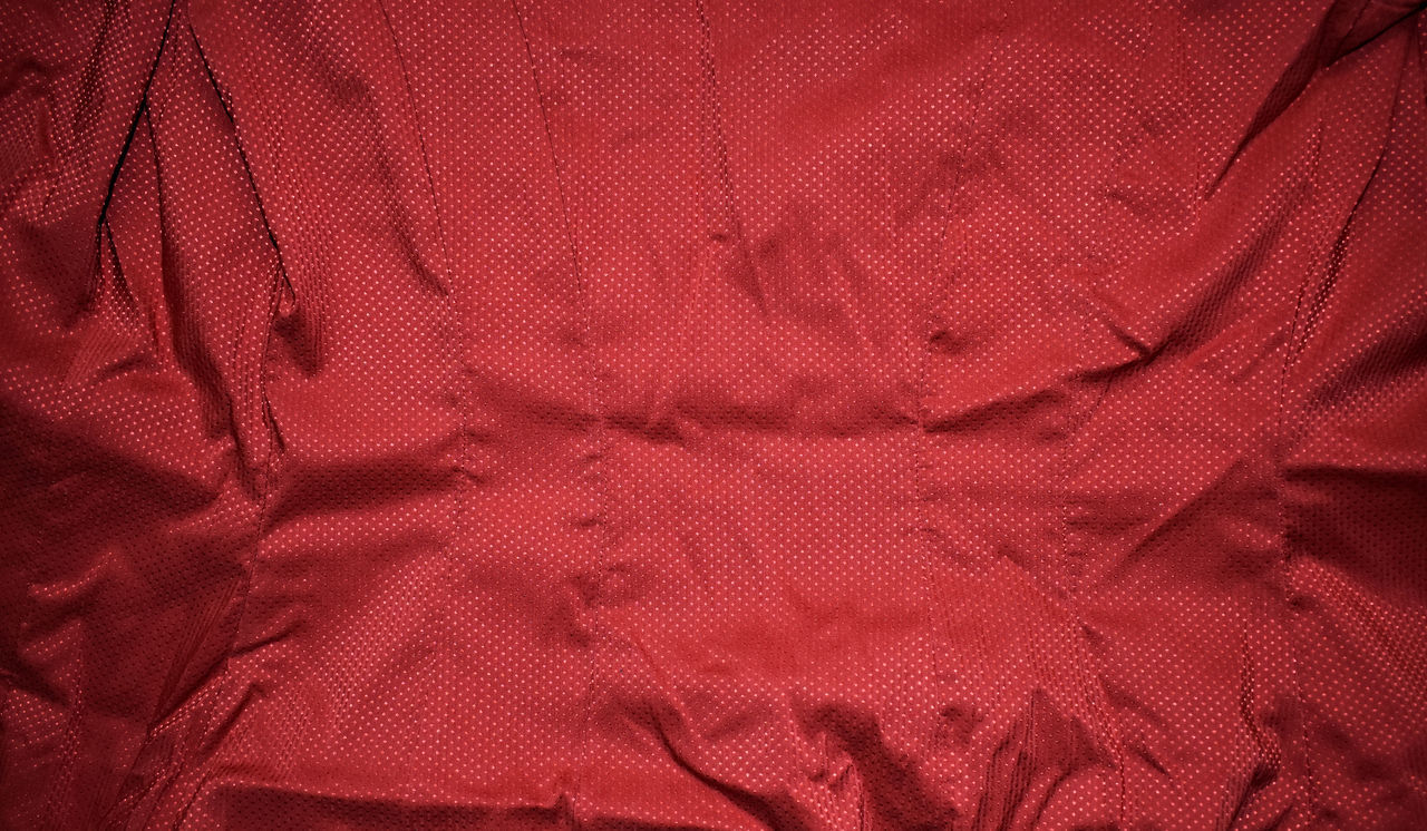 full frame, textile, backgrounds, textured, red, no people, material, pattern, crumpled, close-up, wrinkled, rippled, linen, pink color, abstract, clothing, indoors, sheet, rag