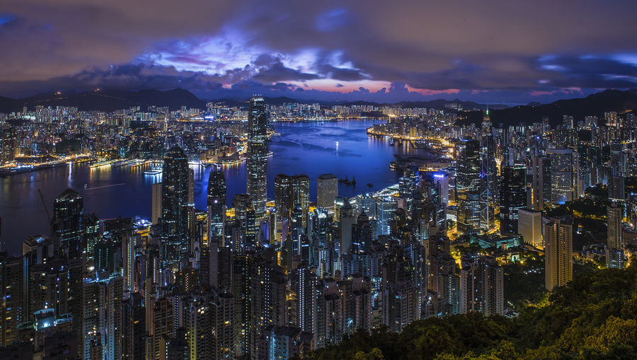 Hong Kong harbor by night from Victoria Peak, Hong Kong Blue Sky Blue Twilight Sky Twilight Victoria Peak, Hongkong Bay Top View Light Cityscape City Victoria Park Victoria Peak Hong Kong HongKong