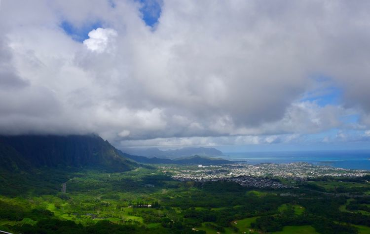 Hawaii Oahu High Angle View Dramatic Sky Overcast Green Color Forest Sea Cityscape Hills And Valleys Hill Stratocumulus Beauty In Nature Sky Nature Cloud - Sky Landscape Scenics No People Tranquility Outdoors Day Mountain