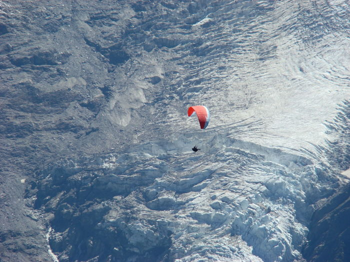 High Angle View Of Person Paragliding