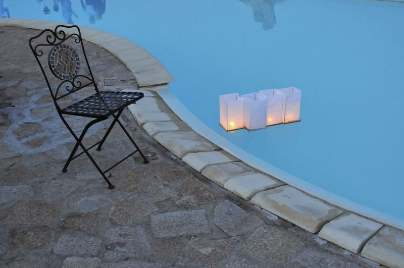 Chair by poolside