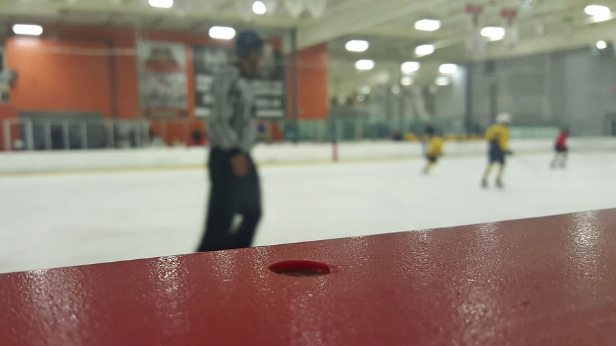 Focus On Foreground Hockey Game Hockey Tournament Ice Rink My Youngest Son Miles Referee Selective Focus Youth Hockey