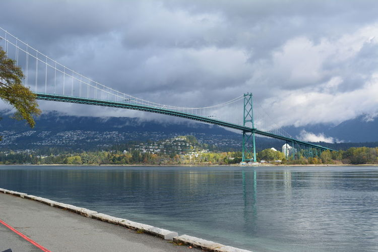 Vancouver Vancouver BC Canada British Columbia Outdoors Stanley Park Bridge Bridge - Man Made Structure Water Cloud - Sky Travel Destinations Mountain Transportation Day Bay Architecture Engineering Suspension Bridge Connection Sky