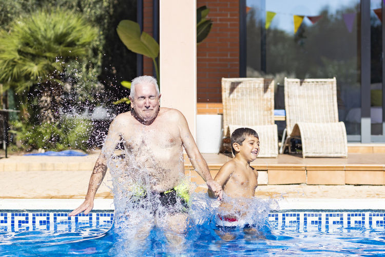 View of man in swimming pool