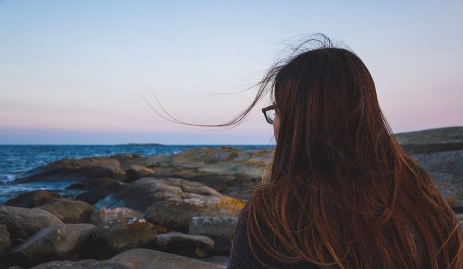 L❤️ve   Sea Long Hair Horizon Over Water Person Standing Beach Scenics Tranquil Scene Tranquility Water Focus On Foreground Nature Vacations Beauty In Nature Getting Away From It All Sky Outdoors Solitude Human Hair Shore Eye4photography  EyeEm Gallery EyeEm Nature Lover Woman Love Of My Life