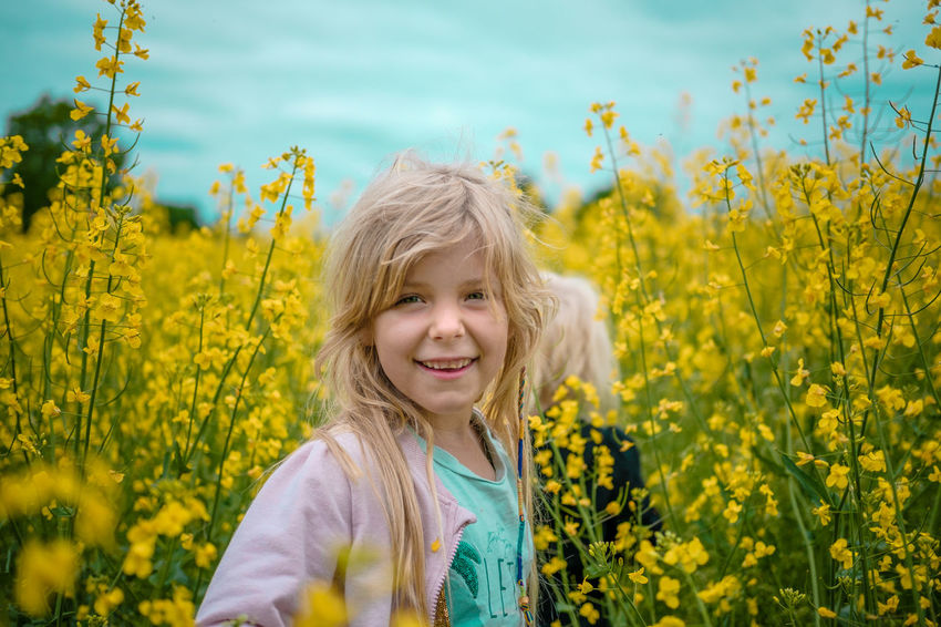 Childhood Field Flower Girls Happiness Live For The Story Looking At Camera Portrait Smiling Yellow Fresh On Market 2017