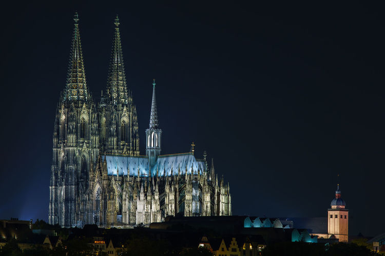 View Of Cologne Cathedral Against Sky At Night