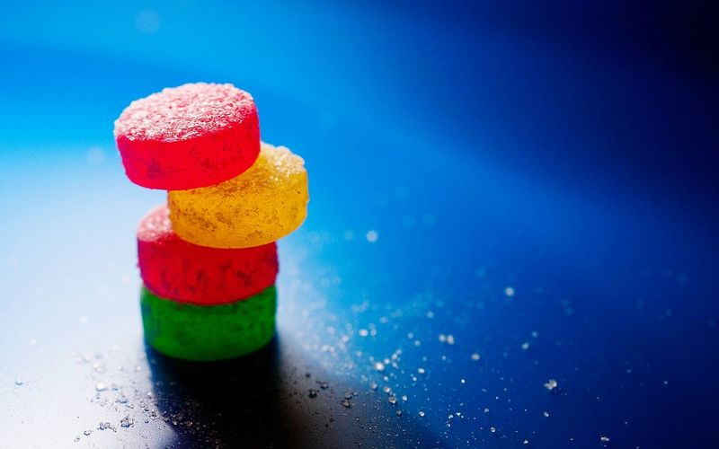 Close-up of colorful candies on table