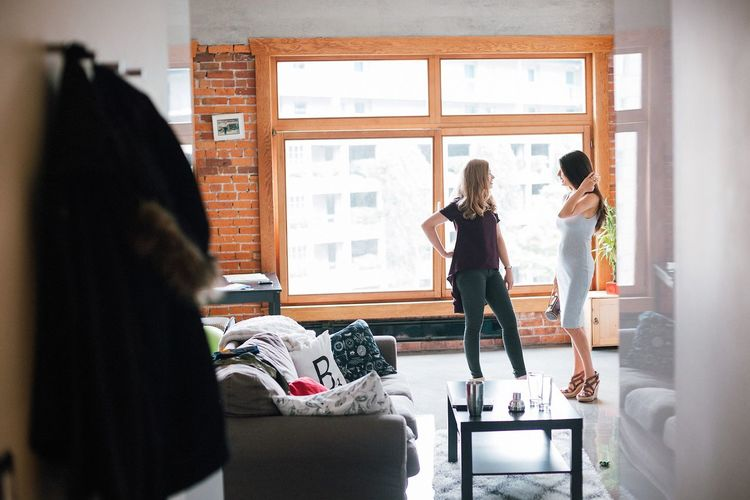 Apartment Friendship Full Length Girls Going Out Indoors  Light Two Girls Two People Two Women Window Women Young Adult Young Women