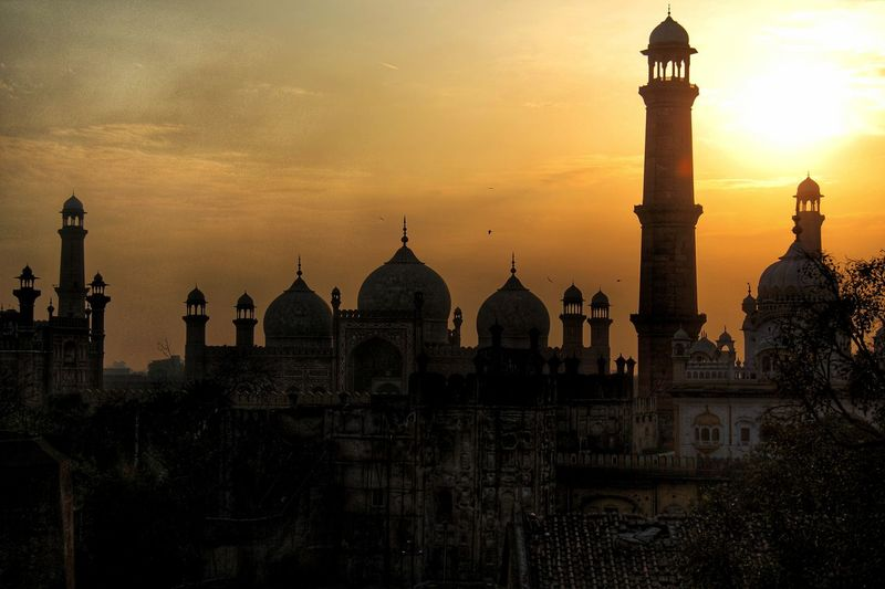 Silhouette Mosque Against Orange Sky During Sunset