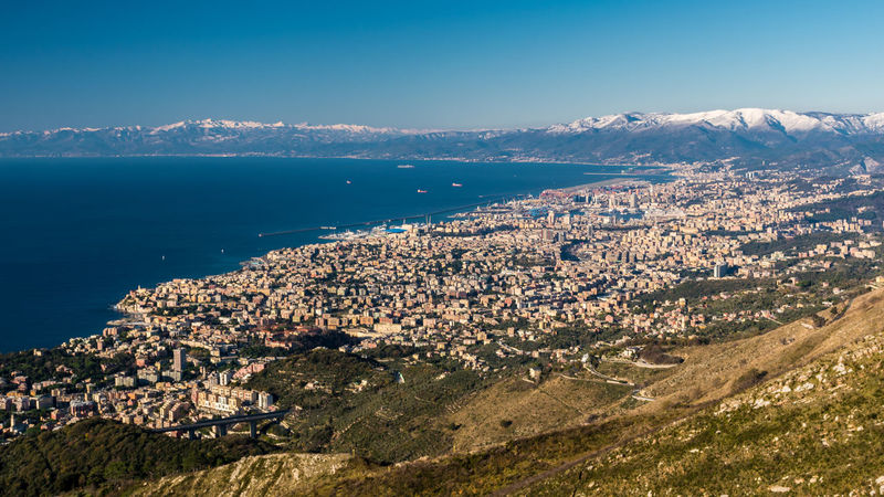 Aerial view of Genoa and its gulf seen from Monte Fasce City Cityscape Clear Sky Genoa Mediterranean  Mediterranean Sea Panorama Panoramic Sunny View Aerial Aerial View Day Europe Italy Landscape Liguria Monte Fasce Mountain Nature Outdoors Scenics Sea Sky View From Above