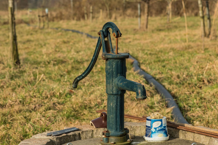 Metal Tree Machine Valve Faucet Grass Wood - Material Nature Landscape Rusty Sunlight Water Pump Close-up Focus On Foreground Germany Village Village Life