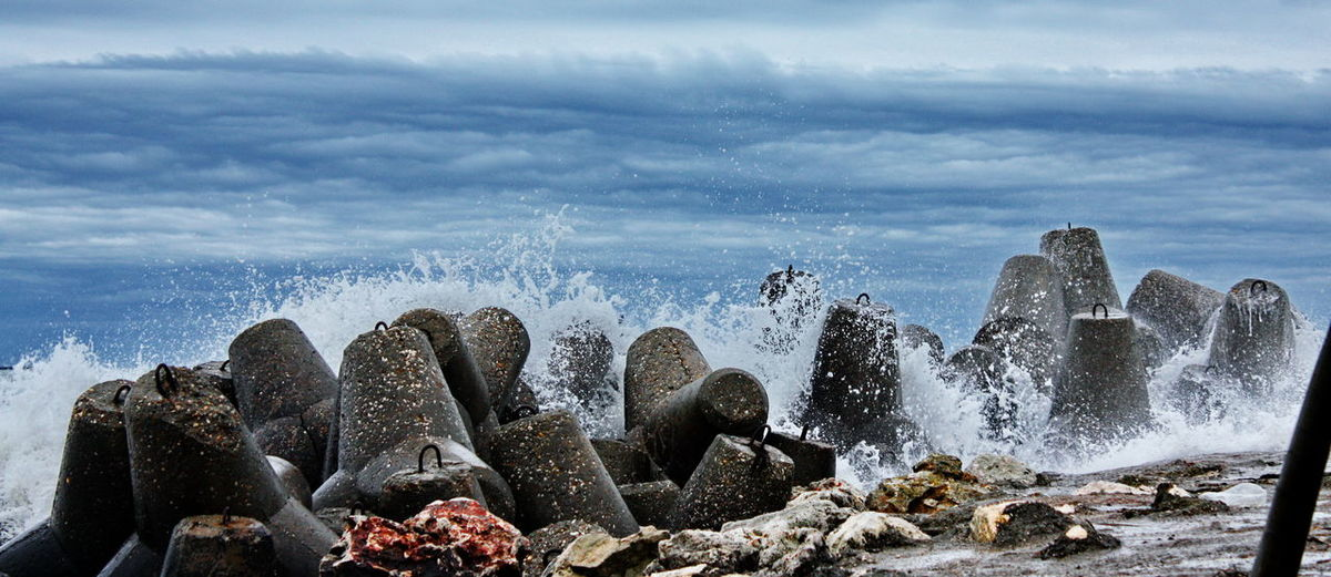 Beach Exploring Geology Horizon Over Water Motion Ocean Outdoors Power In Nature Rippled Sea Seascape Shore Splashing Surf Vacation Vacations Water Waterfront Wave