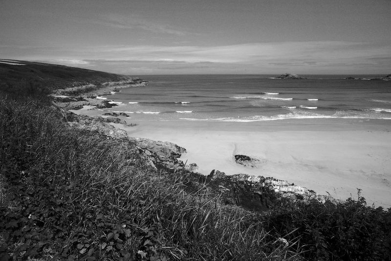 Waves On The Beach Water Sea Beauty In Nature Land Scenics - Nature Beach Sky Tranquil Scene Day Tranquility Nature No People Plant Cloud - Sky Outdoors Landscape Surf Waves Blackandwhite Black And White