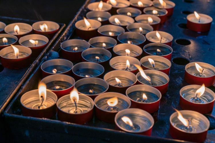High angle view of tea light candles