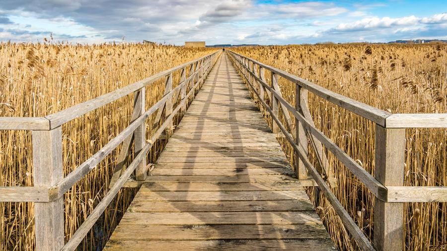 View of footbridge leading towards land