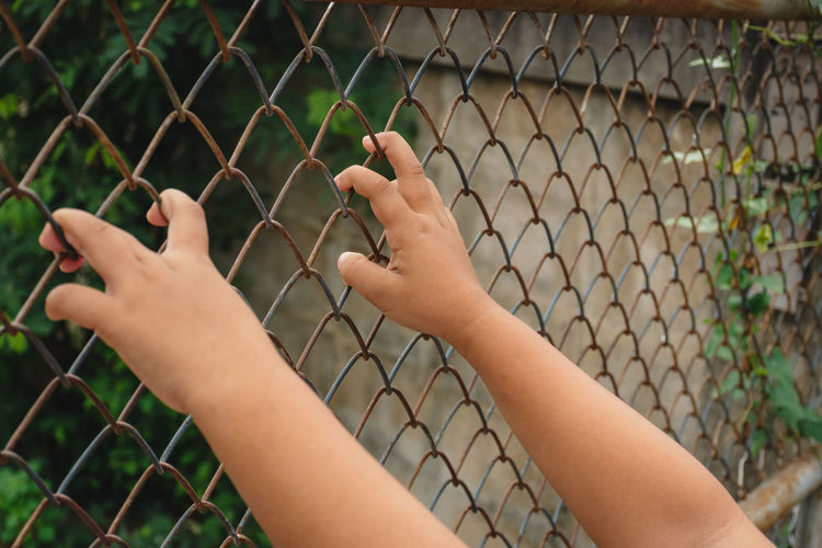 Kid's hands on a metal chain link wire mesh fence. Concept for child abuse, human trafficking, crime and domestic violence,Human Rights Day,protection of kid,right hand focus. Concept Human Child Fence Hand Background Holding Freedom Chain Violence Metal Wire Mesh Crime People White Link Steel Safety Security Children Sad Protect Fear Criminal Prison Cage Jail Punishment Prisoner Hands Woman Vintage Grunge Finger Lonely Barrier Illegal Prevent Hostage Kid Persecution Escape Wrist Human Hand Human Body Part Close-up Protection Body Part