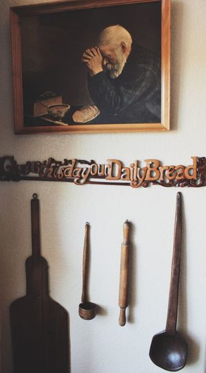 Grandparents house Sign Spoon Rolling Pin Painting Kitchen Style Rustic Decoration Decor Indoors  Still Life Text No People Large Group Of Objects Western Script Communication Close-up Table Home Interior Wall - Building Feature
