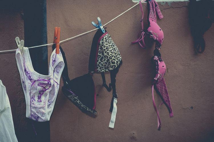 High angle view of bras